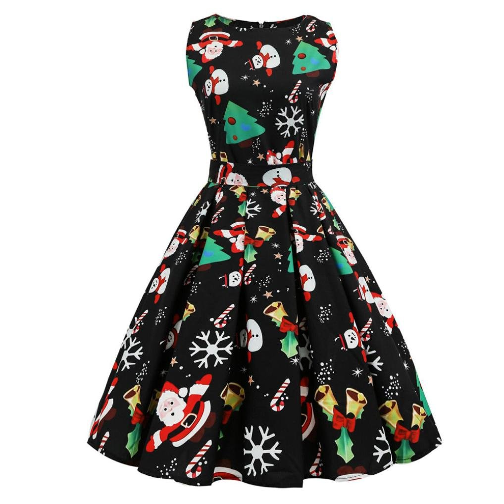 Women Dress Christmas Daoroka Women's Christmas Gifts Fit and Flare Cocktail Vintage Ball Gown Dress Sleeveless Pin Up Swing Lace Santa Claus Print Party Dress For Christmas/New Year (XL, Black3)