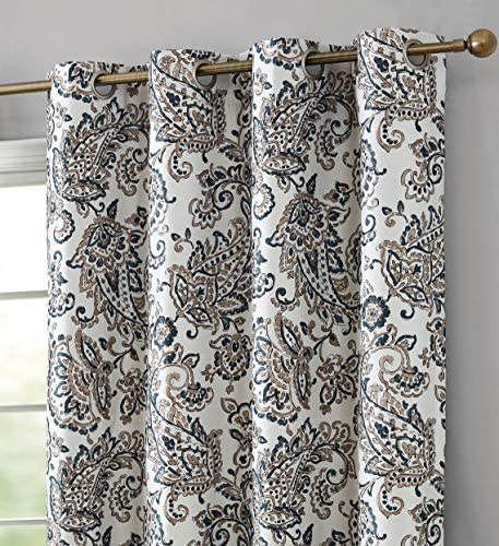 HLC.ME Amalfi Paisley Faux Silk 100 Blackout Room Darkening Thermal Lined Curtain Grommet Panels for Bedroom – Energy Efficient, Complete Darkness, Noise Reducing – Set of 2 Taupe, 52 W x 96 L