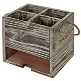 Winmaarc Wood Kitchen Dining Utensil Organizer Caddy with Napkin Holder 4 Compartment