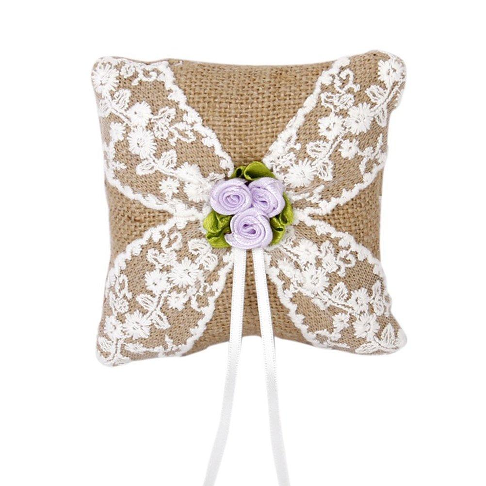 ULTNICE Hochzeit Ringkissen 10*10cm- Sackleinen Jute Spitze Blumen Stil