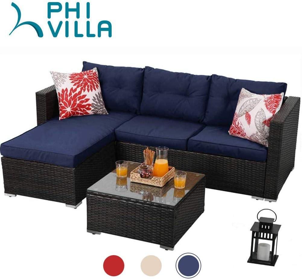 PHI VILLA - Juego de Muebles de Mimbre para Patio (3 Piezas), Color Azul: Amazon.es: Jardín