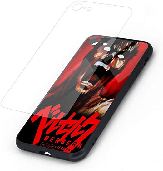 Berserk iPhone 7 Case iPhone 8 Case, Soft TPU and Tempered Glass Double Layer Mobile Phone Case Cover for 4.7 in