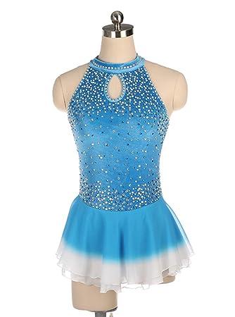Heart&M Vestido Azul de Patinaje artístico para niña, Traje ...