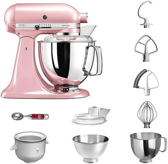 Robot de cocina, de KitchenAid, juego Artisan 5KSM175PS, incluye heladera y cuchara para helado para postres caseros Seidenpink: Amazon.es: Hogar