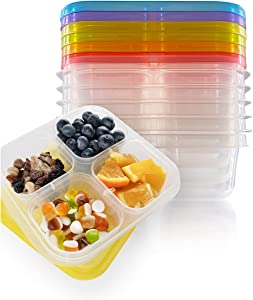 Vramy 4-Compartment Reusable Food Containers For Kids and Adults,Snack Box,Meal Prep Containers,Bento Lunch Boxes,Set of 6(12 pieces Total),Multi-Color