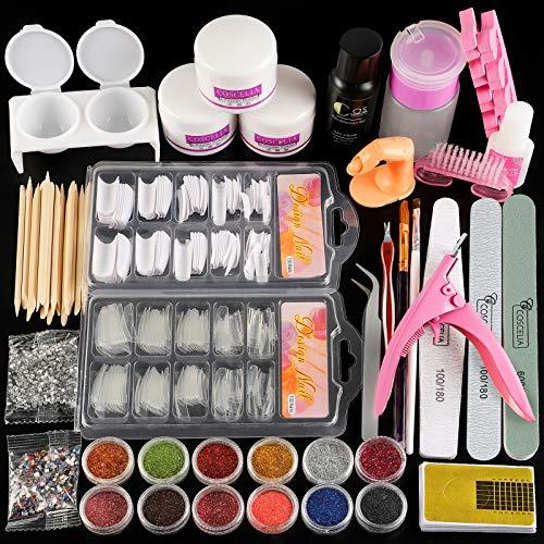 Coscelia Acrylic Nail Kit Acrylic Powder and Liquid Set Nail Decoration Tools False Nail Tips for Manicure Starter Kit