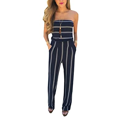 9a48f085bb2d Amazon.com  Leezeshaw Women Strapless Backless Stripe Printed Bodycon Long  Party Jumpsuit Rompers  Clothing