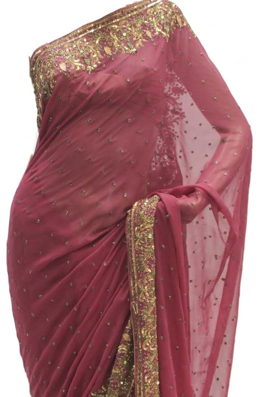 DES1224 Exquisite Magenta & Gold Party Saree Bollywood Indian Designer Party Sari Saree