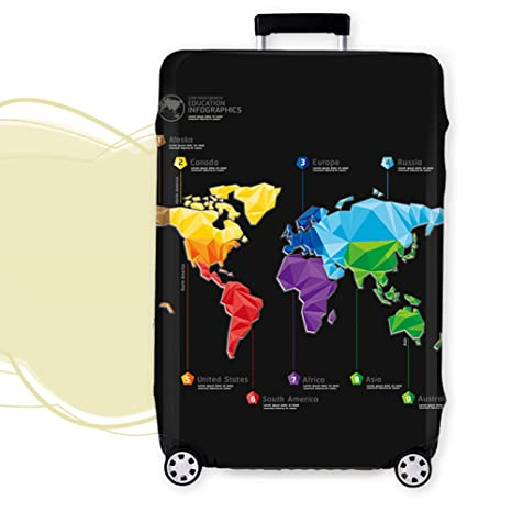 World map print luggage protector cover elastic suitcase cover world map print luggage protector cover elastic suitcase cover spandex travel luggage cover m fit 22 gumiabroncs Image collections