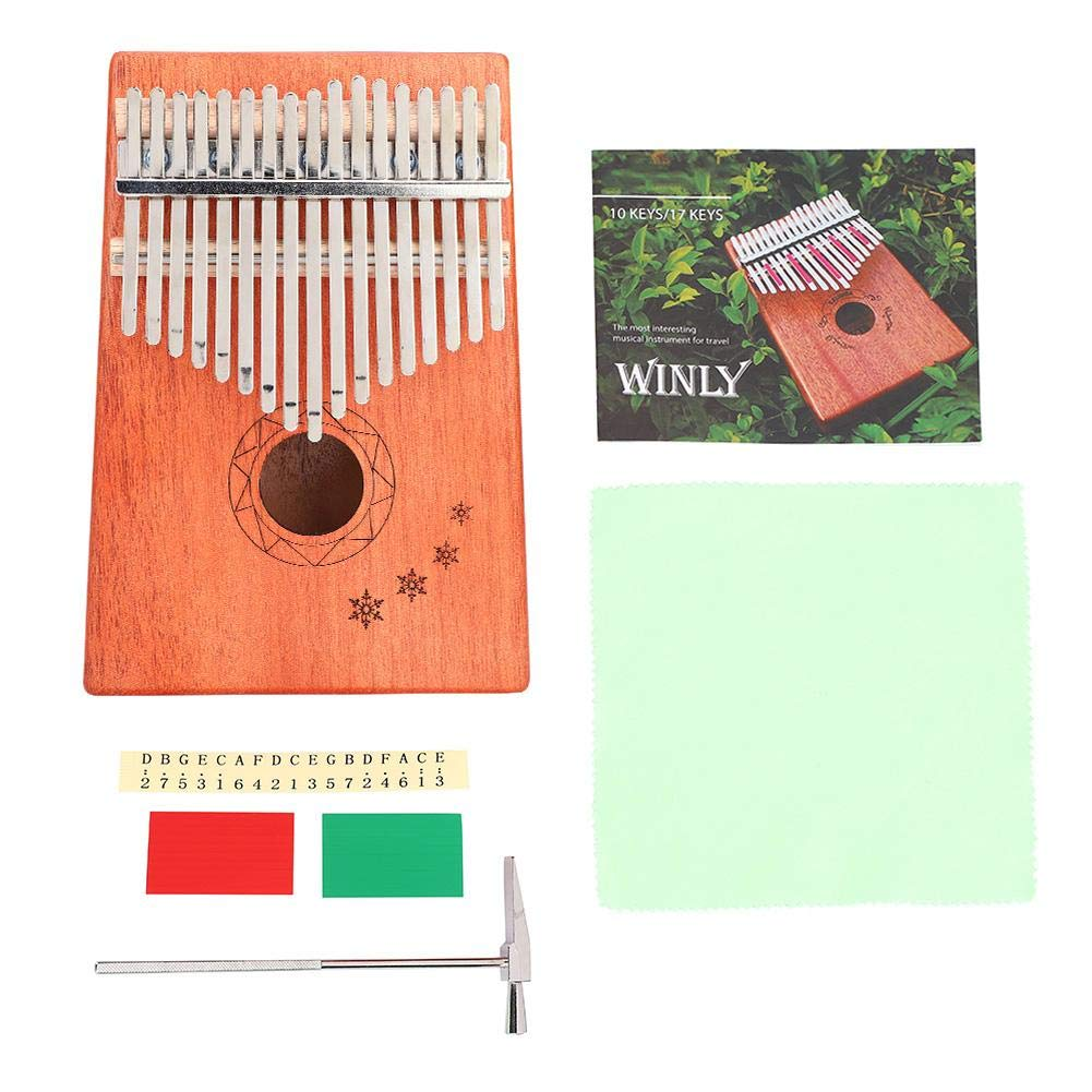 17 Key Snowflake Pattern Mahogany Kalimba Finger Piano Thumb Piano Tuning Hammer and Study Instruction Best Christmas Gift for Music Fans Kids Adults by Vbestlife.