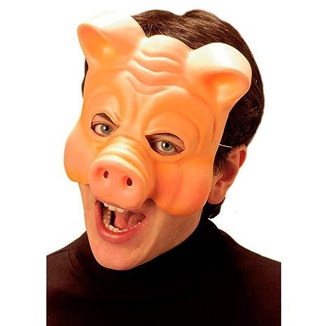 NET TOYS Maschera da maiale che copre metà volto travestimento colorato da  suino c96e962e20f