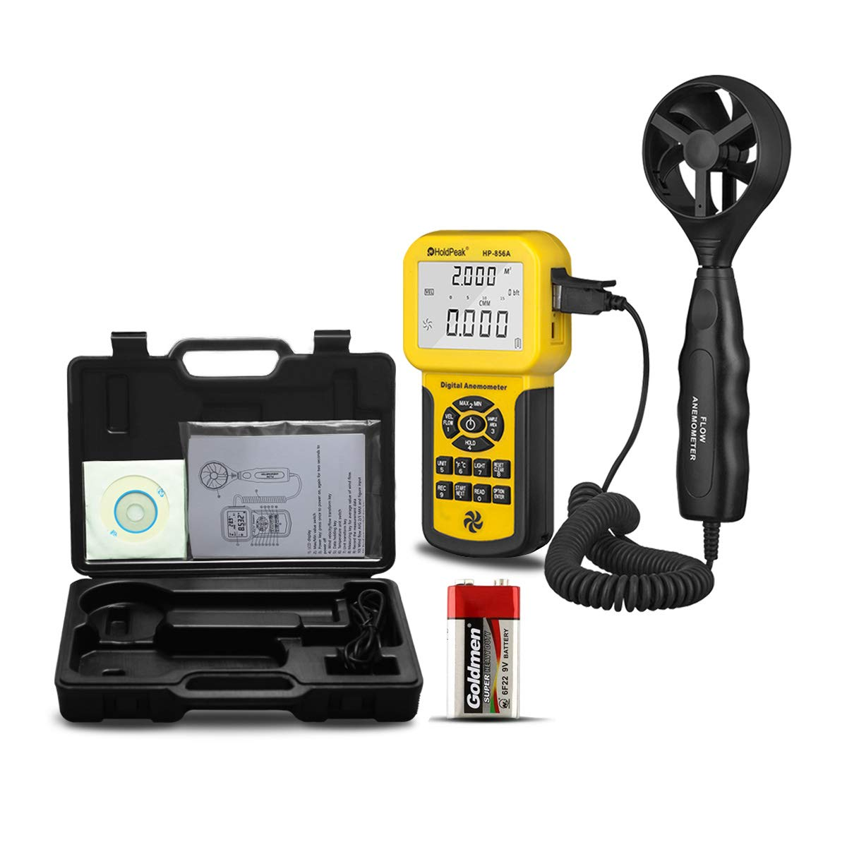 HOLDPEAK HP-856A Pro Anemometer Handheld CFM Meter for HVAC,Air Flow Area Setting,Air Velocity,Temperature,Wind Speed Meter with Back Light,Data Hold and USB Connect to Your Computer by H HOLDPEAK