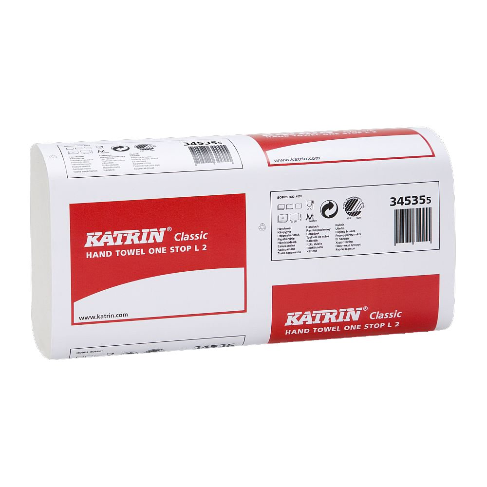 21 sleeves per case 2 ply Narrow Width Katrin 345355 Classic quality interleaved one stop 2310 towels hand towels 110 towels per sleeve white