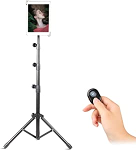 """Tripod Stand for iPad Video Recording, Up to 55 Inch Height Adjustable Foldable Floor Tablet Stand with 360° Rotating Holder, Samsung and More 7.9"""" to 14"""" Tablets (7.9-12 Inch)"""