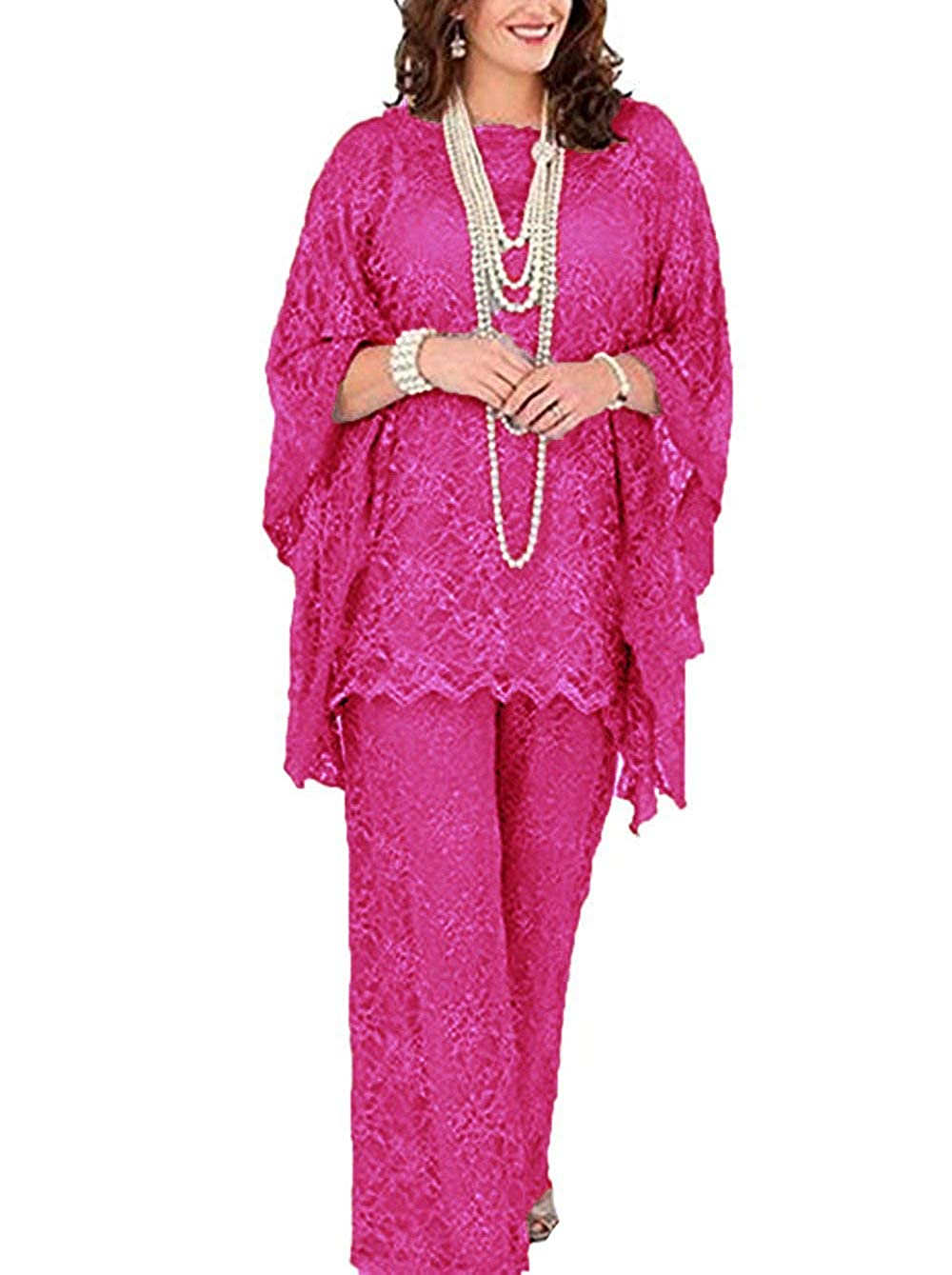 Fuchsia Women's 3 Pieces lace Mother of Bride Dress Pant Suits Long Sleeves