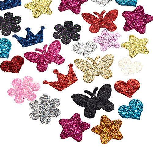 Felt Shapes - 100-Piece Glitter Sequinn Felt Embellishment Cutouts for DIY Art and Craft Decoration, Assorted Shapes, Felt Flower, Tiara, Star, Butterfly, Heart