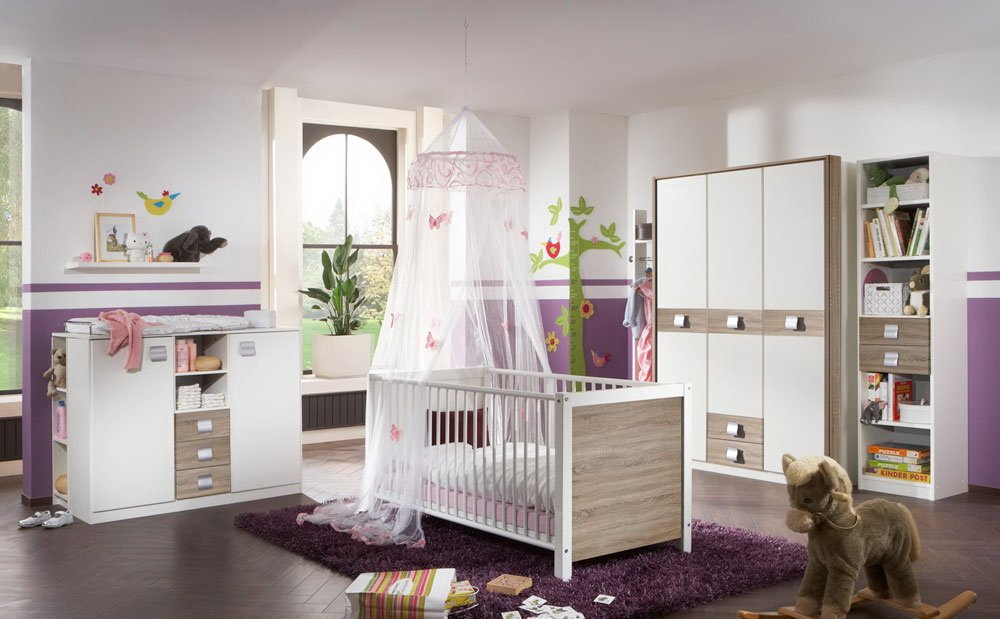 Babyzimmer Kinderzimmer Komplett Set Babymöbel Babybett Wickelkommode  Babyausstattung Einrichtung Komplett Schrank Mädchen Junge Eiche Sägerau  Weiß Günstig
