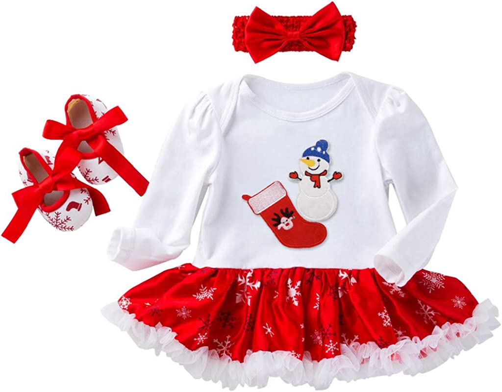 0-2 A/ños,SO-buts Reci/én Nacido Beb/és Ni/ñas Navidad Primer Cumplea/ños Mameluco De Calcet/ín Rojo Vestido Tulle Tutu Diadema Zapatos Conjunto De Trajes