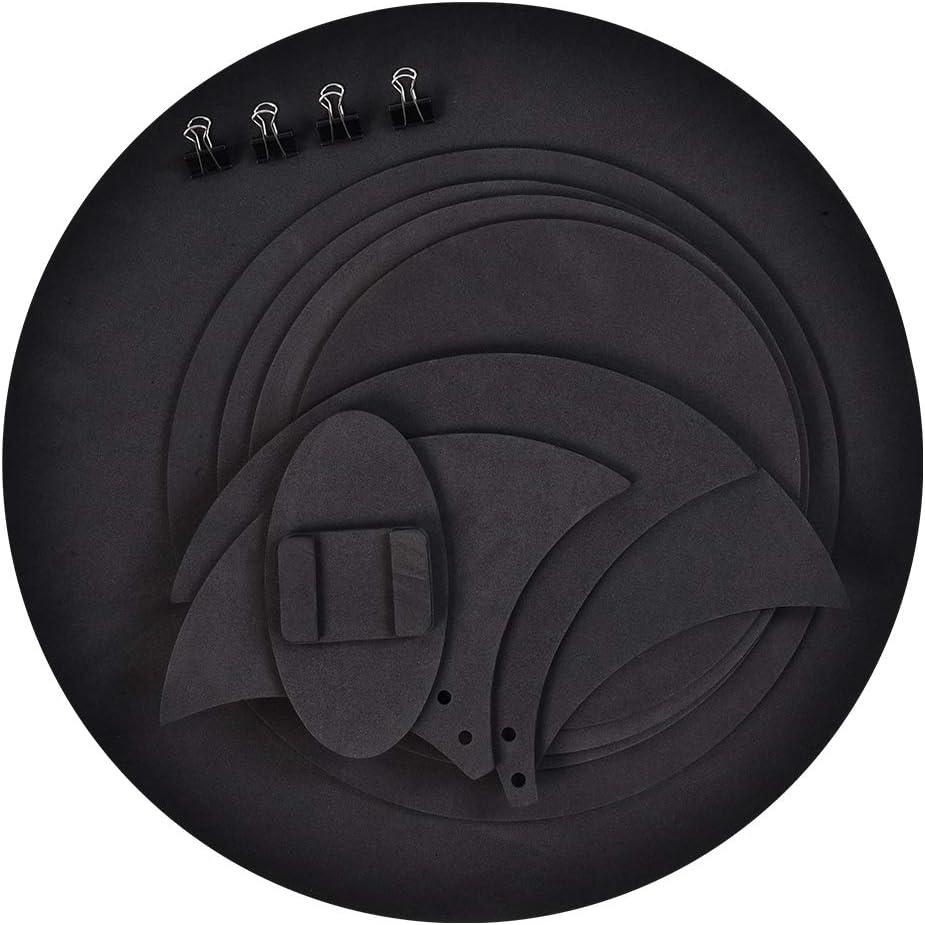 Silenciadores de pr/áctica de tambor 10 unidades silenciador silenciador de silencio para la pr/áctica de la bater/ía de la almohadilla de la pr/áctica de los bombos sonido silencioso apagado negro