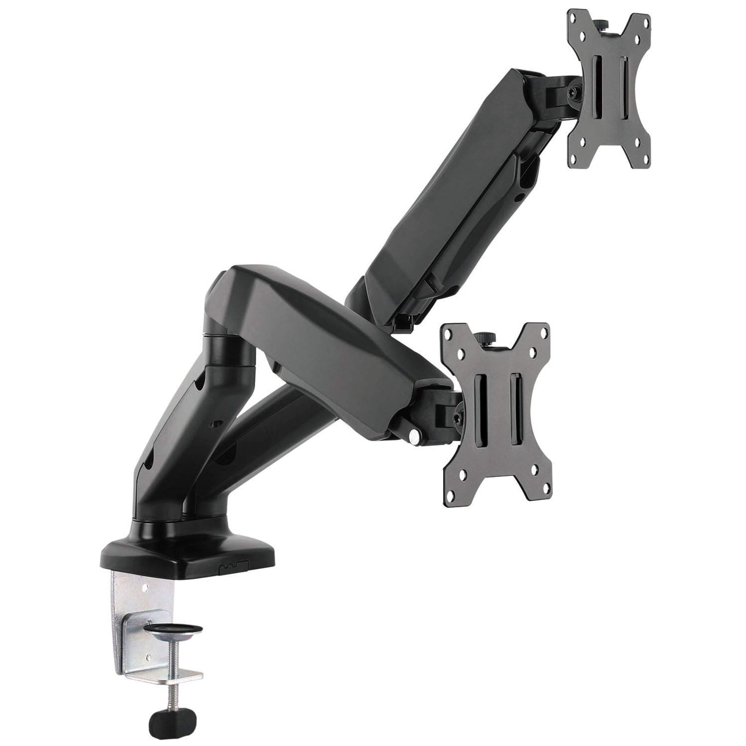 "WALI Dual LCD Monitor Fully Adjustable Gas Spring Desk Mount Fit Two Screens VESA up to 27"", 14.3 lbs. Weight Capacity per Arm (GSM002), Black"