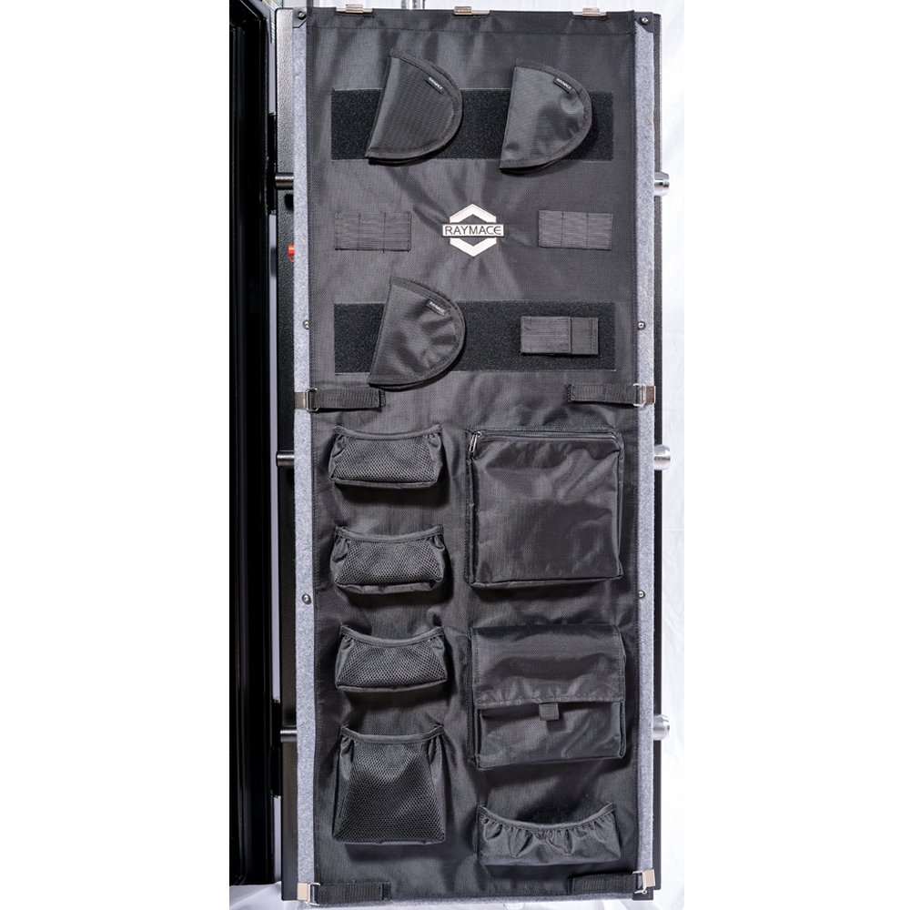 RAYMACE Large Gun Safe Door Panel Organizer 18 1/10W-21 1/2Winch49 3/5H inch Adjustable Storage Solution for Long Gun Cabinets Black