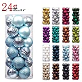 """KI Store 24ct Christmas Ball Ornaments Shatterproof Christmas Decorations Tree Balls Pastel for Holiday Wedding Party Decoration, Tree Ornaments Hooks included 2.36"""" (60mm Baby Blue)"""