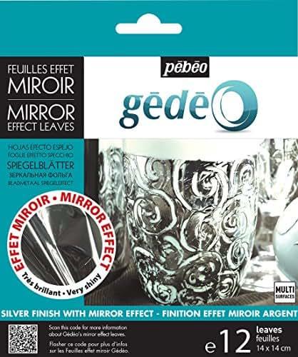 PEBEO 766550 Gedeo Mirror Effect Leaves Adhesive Sheet, Silver