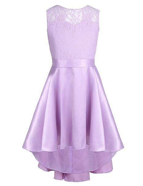 84ec46c21 FEESHOW Vestidos Niña Fiesta Elegante de Princesa Vestido de Encaje  desigual Espalda V para Niñas (4 a 14 Años) Morado 12 años: Amazon.es: Ropa  y accesorios