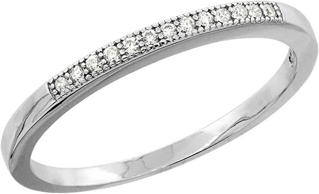 Sizes 8 to 14 1//4 inch Wide Sterling Silver Micro Pave Cubic Zirconia Mens Wedding Band