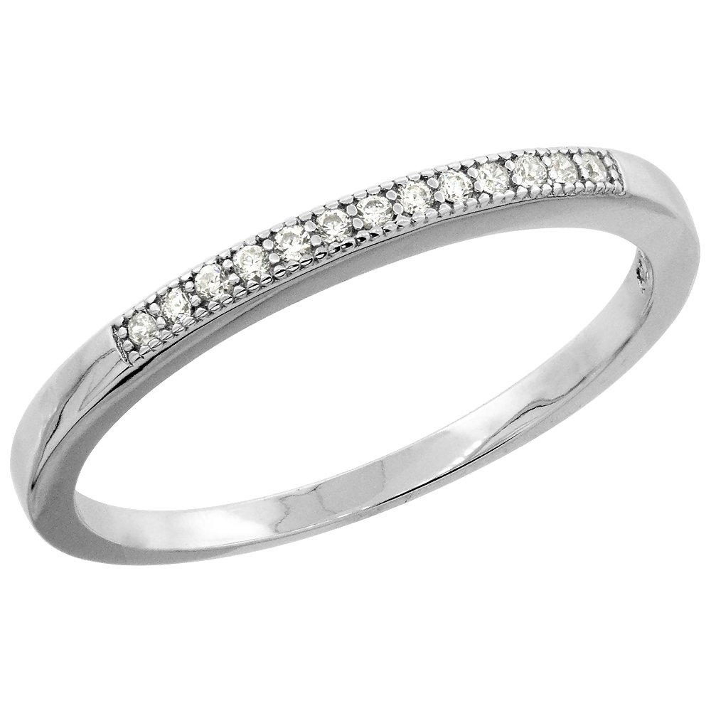 Sterling Silver Micro Pave Cubic Zirconia Ladies' Thin Half Eternity Wedding Band size 8