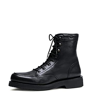 5ce4e912cae Gucci Men s Black Leather Interlocking G Lace Up Boots 352955 1000 (11.5 G   12.5