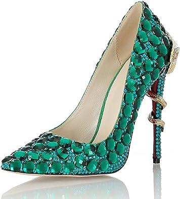 Scarpe Sposa Verdi.Signora Superficiale Bocca Appuntito Tacchi Alti Sposa Verde