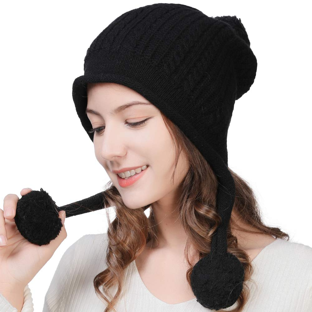 776c75838a14e Amazon.com   Fancet Womens 67% Wool Knit Peruvian Beanie Snow Winter Hat  Ski Warm Cap Earflap Pom Girl Cold Weather Black   Sports   Outdoors