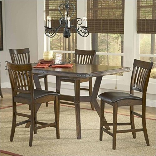 Bowery Hill 5 Piece Counter Height Dining Set in Chestnut