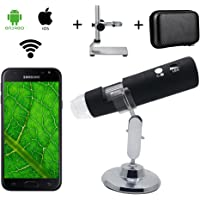 Microscope sans Fil numérique de WiFi, Microscope de grossissement de Bysameyee 1000X avec Le Support en métal supportant Le Sac / Sac pour l'iPhone iOS iPad Tablette de téléphones d'androïde