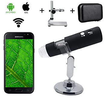 Microscopio Inalámbrico Digital WiFi, Microscopio de Ampliación Bysameyee 1000X con Soporte de Metal/Estuche para iPhone iOS iPad Android Phones Tablet: ...