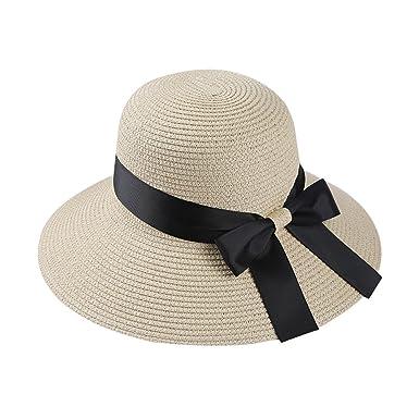 Women Sun Caps Summer Foldable Straw Sunscreen Wide Brim Hat Women Beach Sun  Cap (Beige c8084beae65