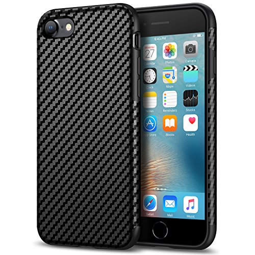 Tasikar Compatible with iPhone 7 Case/iPhone 8 Case Good Grip Slim Case Carbon Fiber Leather Design for iPhone 7 / iPhone 8 (Black) (Carbon Fiber 1 8)