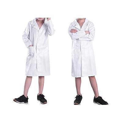 dPois Bata Blanca Traje Cosplay Uniforme de Laboratorio Disfraz de Doctor Médico Enfermera Abrigo Chaqueta Infantil para Niño Niña Unisex White Lab Coat: ...