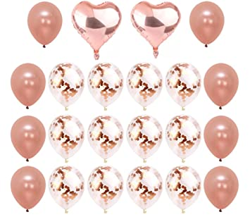 Rose Gold Confetti Balloons 22 Pieces