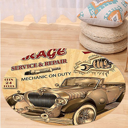 Kisscase Custom carpetVintage Decor Nostalgic Car Figure with Garage Service and Repair Store Phrase Dated Faded for Bedroom Living Room Dorm Sepia Red