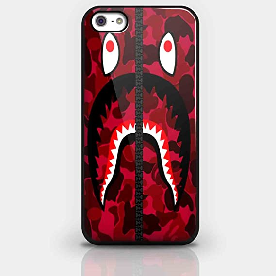 online retailer fd9c1 feb54 Bape Shark Red Army Pattern for Iphone and Samsung Galaxy Case (iPhone 5/5s  Black)