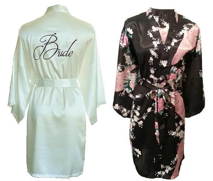 """Fete fabuloso Set de 2 satén Kimono bata/robes- 1 marfil bordado """""""