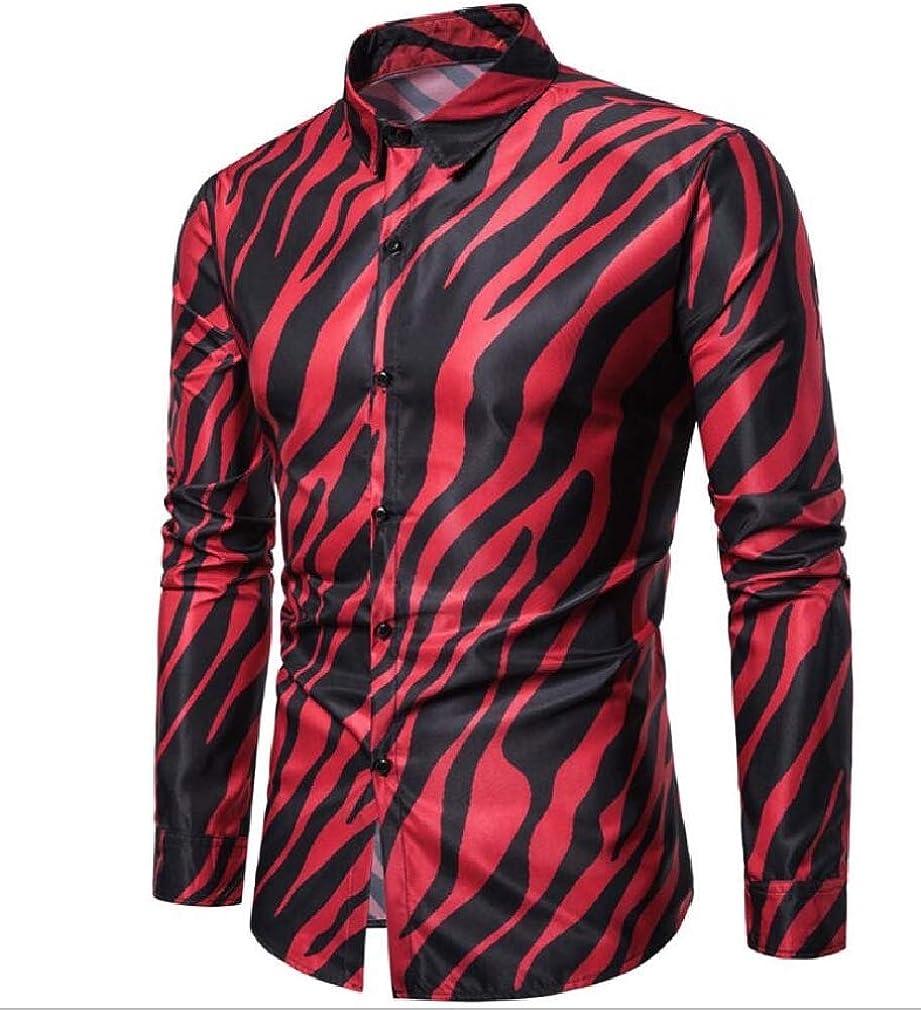 Hajotrawa Mens Zebra-Stripe Button Front Long Sleeve Lapel Casual Shirts