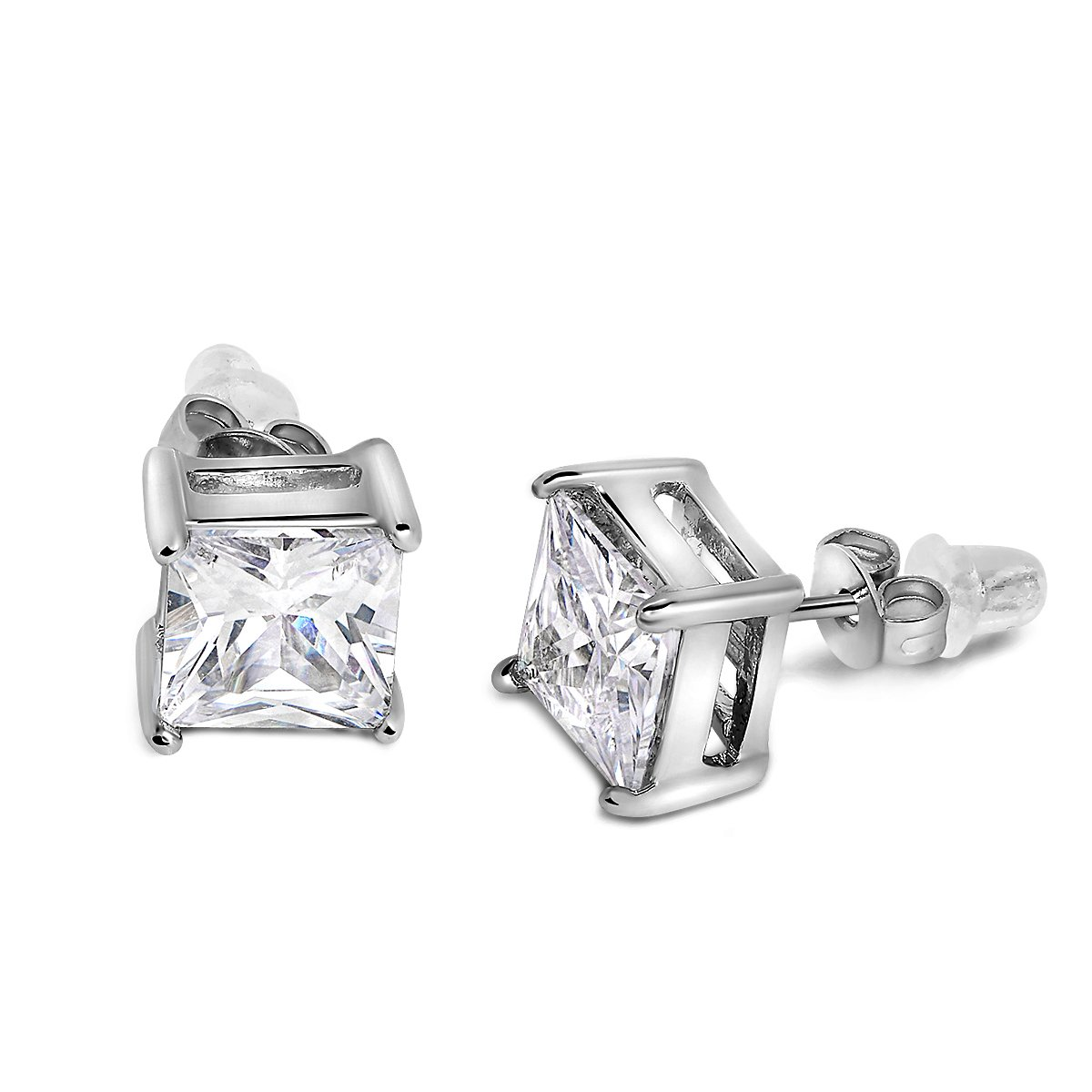 Buyless Fashion Girls Stud Earrings White Crystal CZ With Additional Push Back