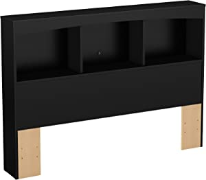 South Shore Step One Bookcase Headboard with Storage, Full 54-inch, Pure Black