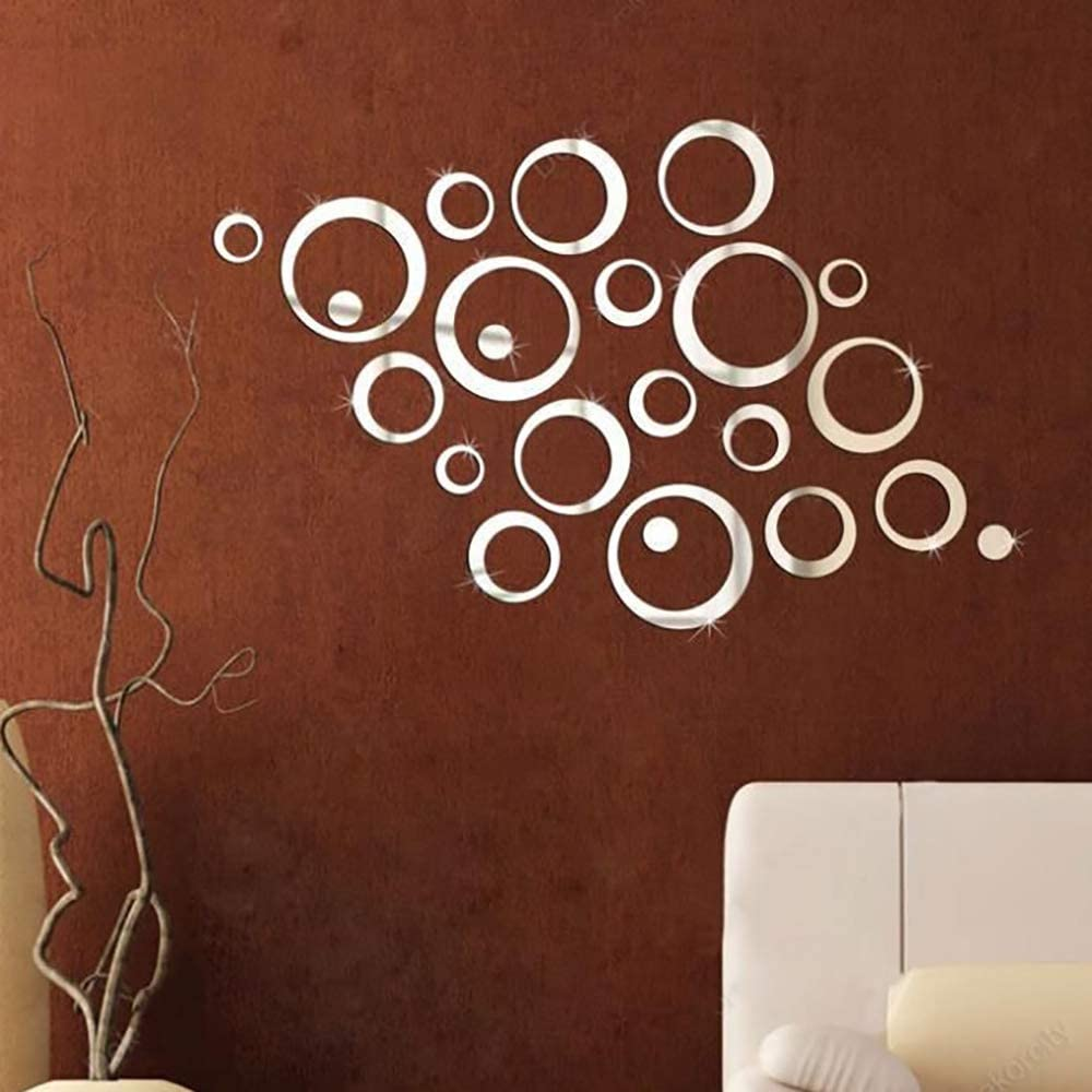 Alrens_DIY(TM) 22pcs Rounds Dots Circles Mirror Surface Crystal Wall Stickers DIY Acrylic 3D Home Decal Living Room Murals Wall Paper Decor adesivo de Parede-4 Colors (Silver)