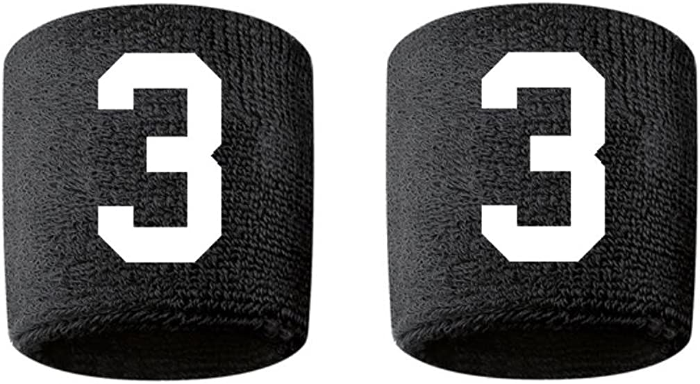 #3 Embroidered/Stitched Sweatband Wristband BLACK Sweat Band w/ WHITE Number (2 Pack)