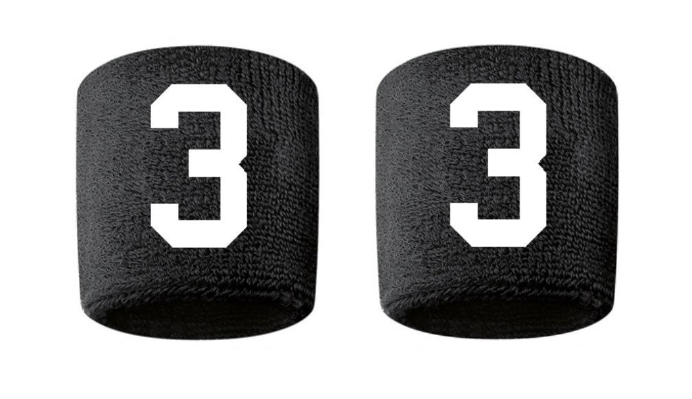 #3 Embroidered/Stitched Sweatband Wristband BLACK Sweat Band w/ WHITE Number (2 Pack)