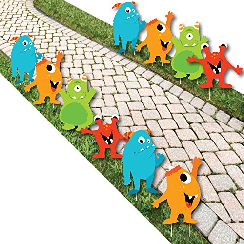 Monster Bash – Lawn Decorations – Outdoor Little Monster Birthday Party or Baby Shower Yard Decorations – 10 Piece